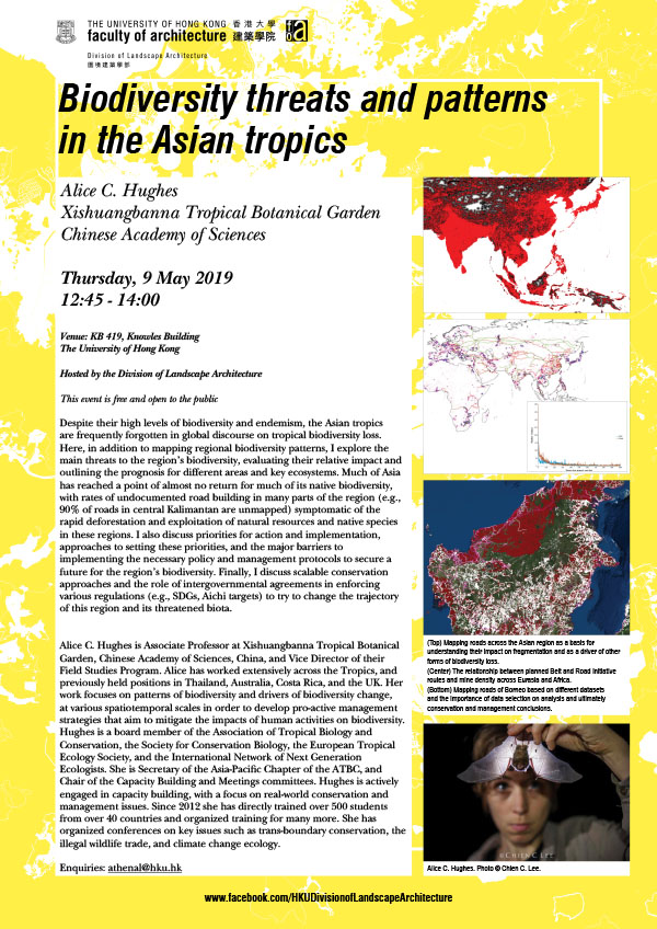 Lecture by Alice Hughes: Biodiversity threats and patterns in the Asian tropics, 2019.