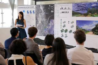 Chloe LIN Zhiqi defends her landscape planning proposal for more sustainable energy generation for villages along the Tanintharyi River during the Faculty of Architecture's Public Review, 2015.