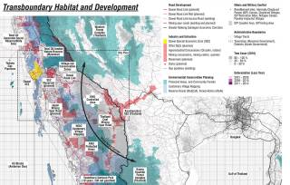 Long-isolated due to six decades of civil war, this region now faces pressure from domestic and transnational development, weak land rights, and large-scale resource exploitation. This map, published online by the design team, compiles contradictory planning knowledge and facilitates dialogue, 2015.