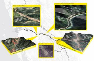 Site-specific vignettes show the impacts of road construction and dependency of road sustainability on ecosystem services. These include erosion control, landslide prevention, habitat fragmentation, disturbance, and loss, flood regulation, air quality, and secondary impacts of land use change and development, 2015.